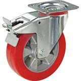 Wicke Polyurethan-Reifen auf Alu-Felge Rad-Ø x Breite 100 x 40 mm Lenkrolle mit Doppelstopp, Tragfähigkeit 200 kg