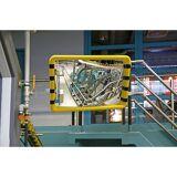 Überwachungsspiegel Rahmen mit gelb-schwarzer Warnmarkierung BxH 500 x 300 mm