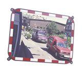 Verkehrsspiegel aus Sekurit-Glas rahmenlos, mit rot/weiß reflektierenden Blickfangrand Spiegelmaße BxH 600 x 400 mm