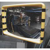 Überwachungsspiegel Rahmen mit gelb-schwarzer Warnmarkierung BxH 600 x 400 mm