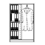 TINO - Schiebetürenschrank 3 Fachböden links, 4 Ordnerhöhen, rechts Garderobe Korpus- und Türfarbe Lichtgrau