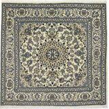 Nain Trading Orientalischer Nain Teppich 202x202 Dunkelgrau/Beige (Persien/Iran, Wolle mit Seide, Handgeknüpft)