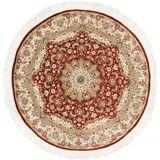 Nain Trading Handgeknüpfter Teppich Ghom Seide 101x99 Rund Beige/Braun (Seide, Persien/Iran)