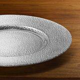 Glas Platzteller 32 cm Durchmesser Hammerschlag-Optik, Metallic-Effekt, Silber