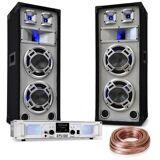 """Electronic-Star DJ PA-Set """"White Noise"""" 2x500W Verstärker 600W PA-Lautsprecher Lautsprecherkabel"""