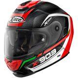 X-lite X-903 Ultra Carbon Cavalcade N-Com Helm Schwarz Weiss Rot XL