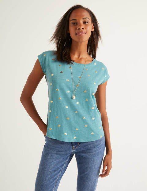 Boden Mittelblau, Folien-Taube Robyn T-Shirt aus Jersey Xmas Boden, L, Blue