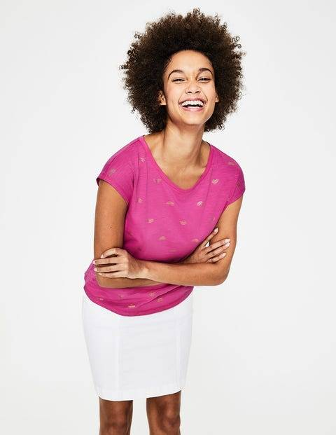 Boden Rosarot/Gold, Regenbogen Robyn T-Shirt aus Jersey Damen Boden, XS, Pink