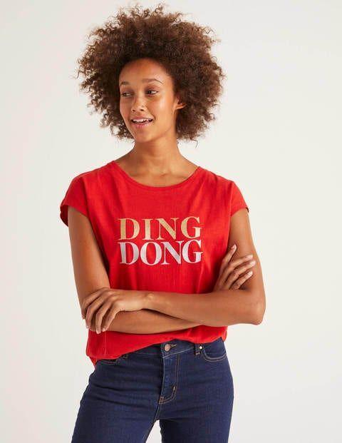 Boden Weihnachtssternrot, Ding Dong Robyn T-Shirt aus Jersey Damen Boden, L, Red