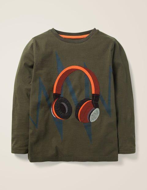 Mini Klassisches Khaki, Kopfhörer T-Shirt mit Musik-Applikation Jungen Boden, 134, Khaki