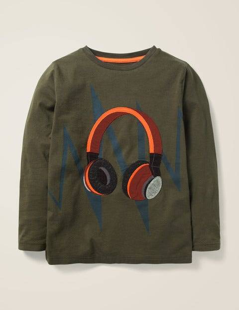 Mini Klassisches Khaki, Kopfhörer T-Shirt mit Musik-Applikation Jungen Boden, 128, Khaki