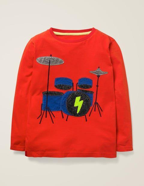 Mini Raketenrot, Schlagzeug T-Shirt mit Musik-Applikation Jungen Boden, 128, Red