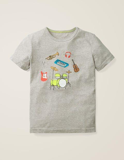 Mini Mittelgrau Jaspiert, Musik T-Shirt mit fröhlichem Muster Mädchen Boden, 152, Grey
