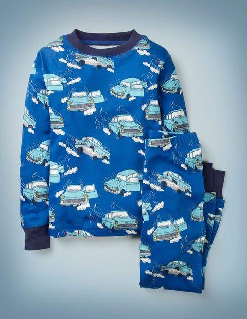 Mini Königsblau, Fliegendes Auto Harry Potter Langer Schlafanzug Mädchen Boden, 122, Blue