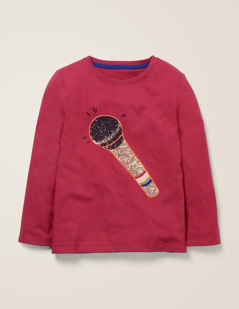 Johnnie b Himbeerrot, Mikrofon T-Shirt mit Musik-Motiv aus Pailletten Mädchen Boden, 176, Red