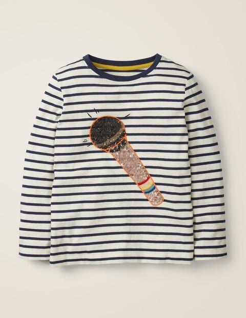 Johnnie b Naturweiß/Dunkelblau, Mikrofon T-Shirt mit Musik-Motiv aus Pailletten Mädchen Boden, 140, Ivory