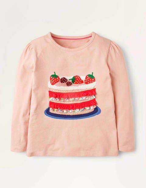 Mini Altrosa, Kuchen Oberteil mit Rüschen-Applikation Mädchen Boden, 134, Pink