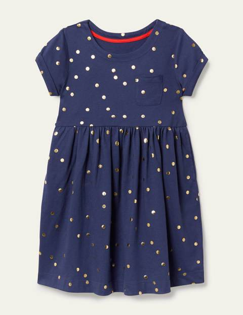 Mini Segelblau, Goldene Tupfen Fröhliches Jerseykleid Mädchen Boden, 122, Navy