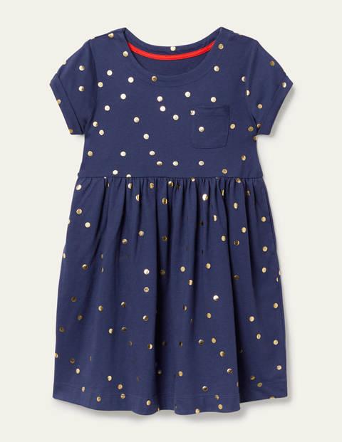 Mini Segelblau, Goldene Tupfen Fröhliches Jerseykleid Mädchen Boden, 134, Navy