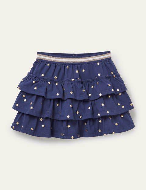 Mini Segelblau/Navy, Goldene Tupfen Jerseyskort mit Rüschen Mädchen Boden, 122, Navy
