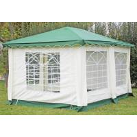 stabilezelte pavillon 3x4m grün polyester / pvc gartenpavillon deluxe wasserdicht