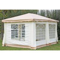 stabilezelte pavillon 3x4m braun polyester / pvc gartenpavillon deluxe wasserdicht