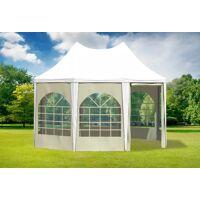 stabilezelte pavillon 3x4,1m weiß / beige pvc pagodenzelt arabica profi wasserdicht