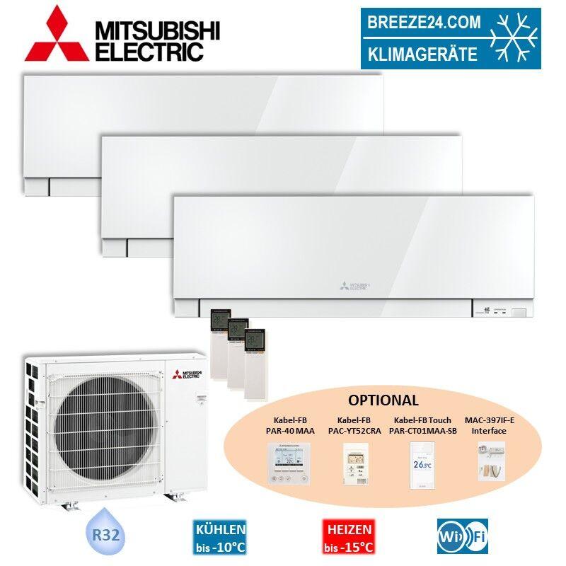 Mitsubishi Electric Klimaanlage Wandgerät Premium R32 3 x MSZ-EF25VGKW + Außengerät MXZ-3F68VF Set