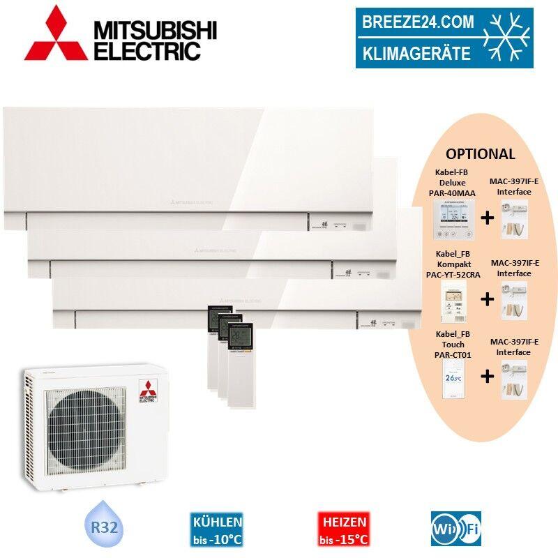 Mitsubishi Electric Klimaanlage Wandgerät Premium R32 2 x MSZ-EF25VGKW + MSZ-EF50VGKW + Außengerät M