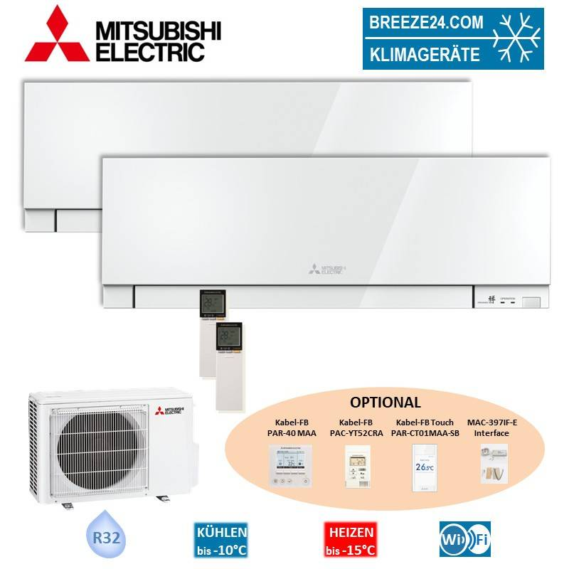 Mitsubishi Electric Klimaanlage Wandgerät Premium R32 MSZ-EF25VGKW + MSZ-EF35VGKW + Außengerät MXZ-2