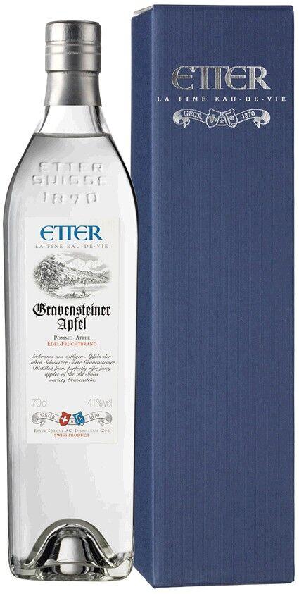 Etter Söhne AG Distillerie Zug Etter Gravensteiner Apfel Schweizer Gravensteiner Apfel, 41%Vol, Geschenkp.