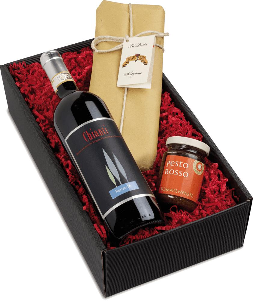 VINELLO Wein- und Delikatessen-Präsent Dolce Vita all' Italia Weingeschenk trocken aus Italien Toskana
