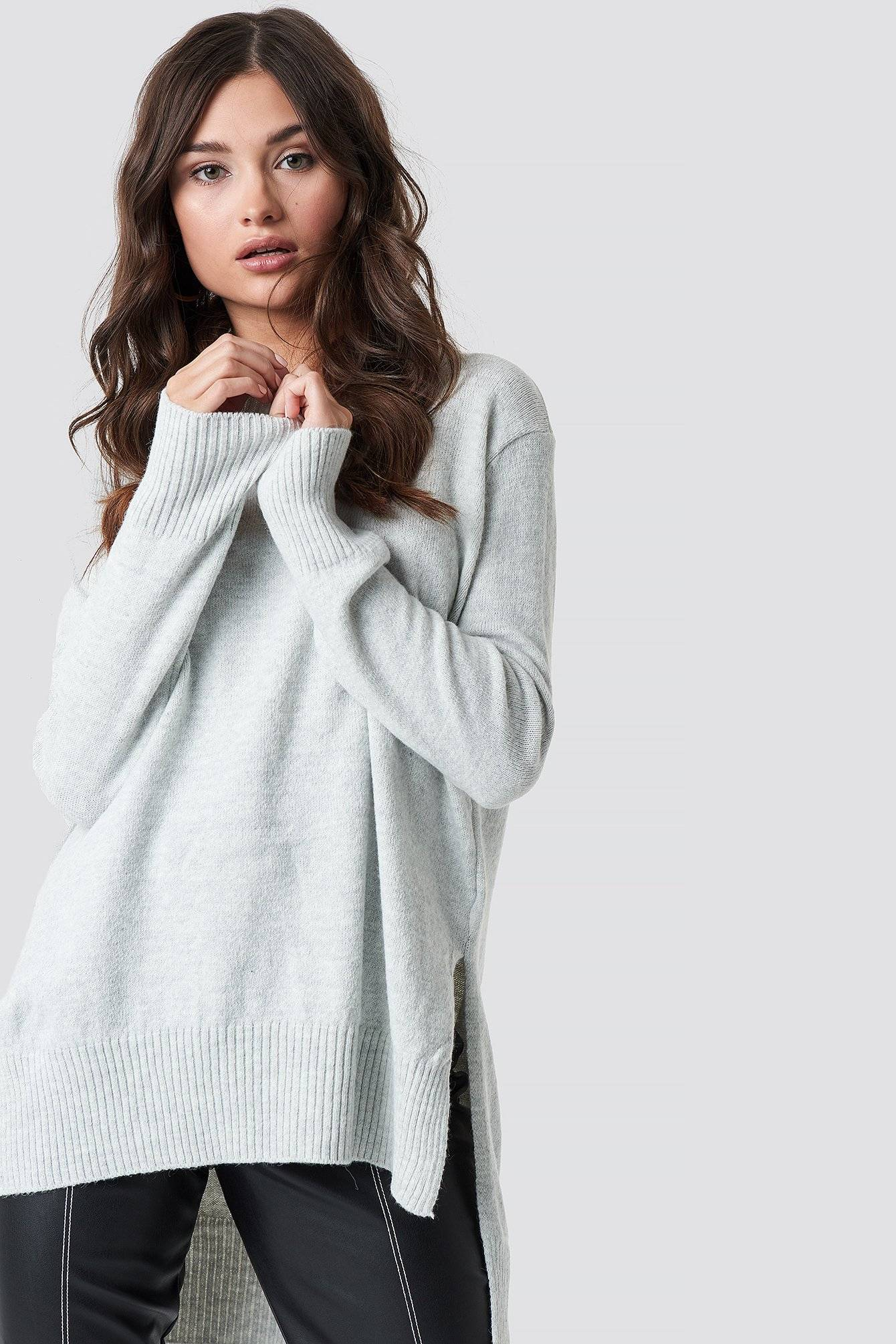 Trendyol Long Back Short Front Knitted Sweater - Grey