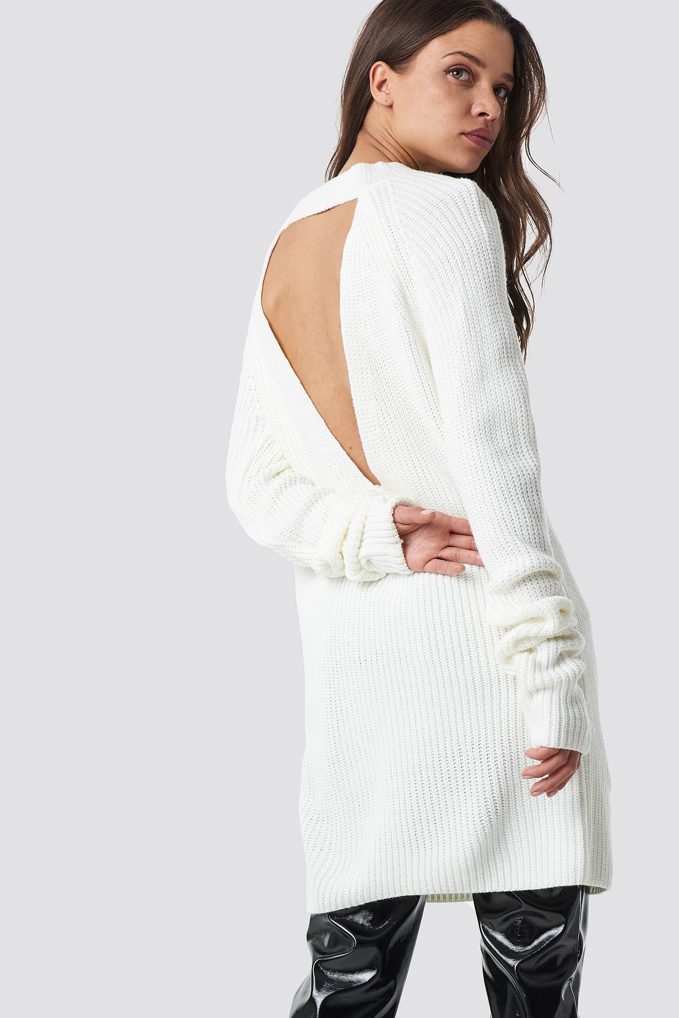 Trendyol Open Back Knitted Sweater - White