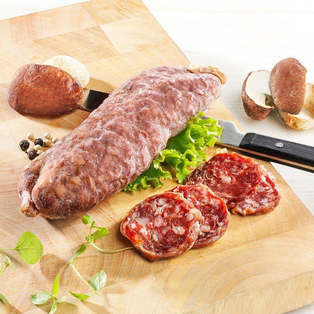Französische Schweinesalami mit Steinpilzen, im Stück