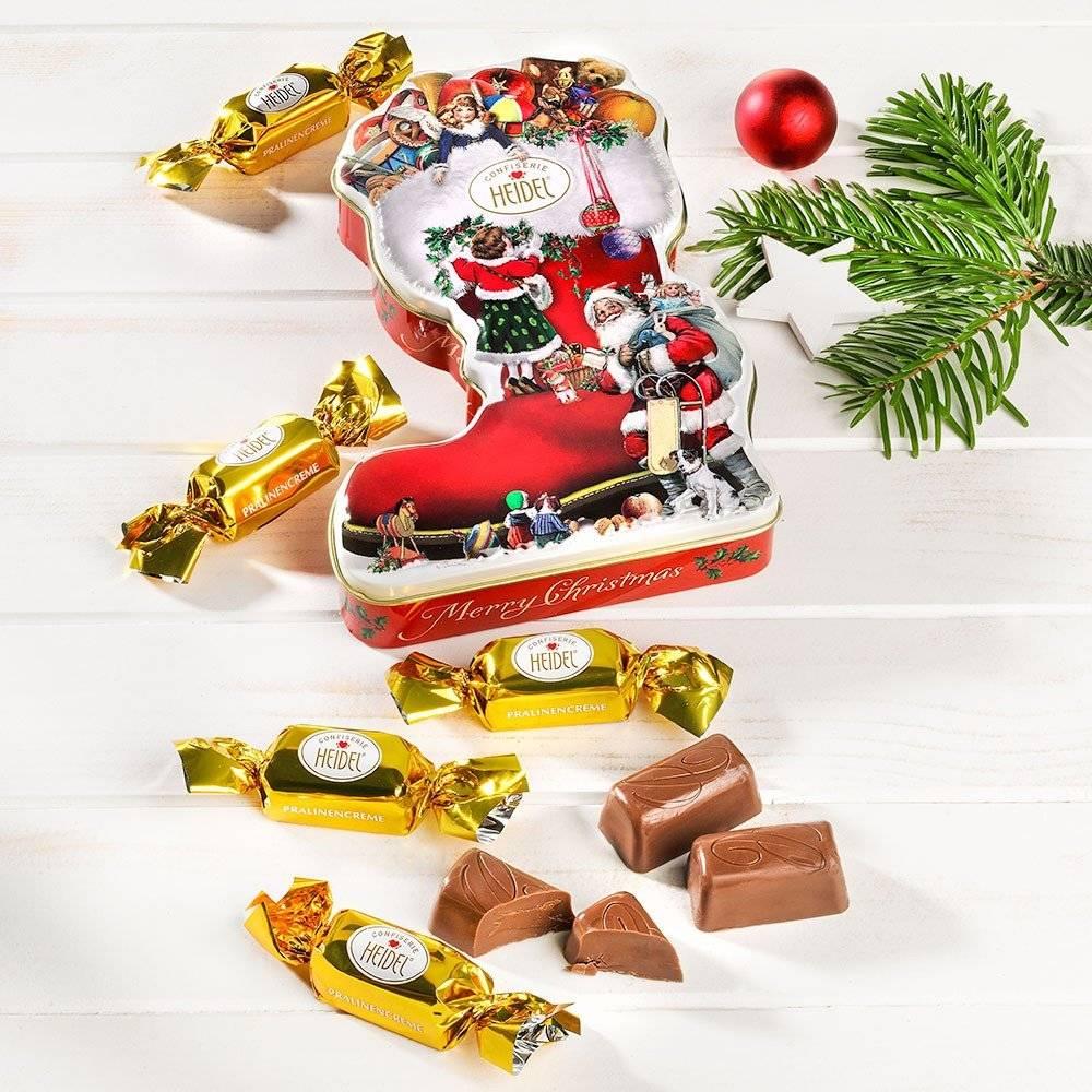 Heidel Schoko-Pralinès in Weihnachtsstiefel