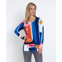 ovanti strickdesign pullover mit kunstdruck mehrfarbig female größe 42