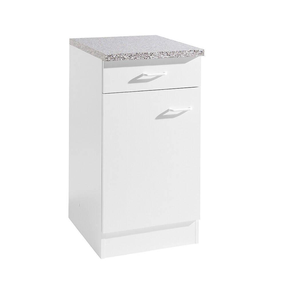 Küchen-Unterschrank 1-türig SALERNO-03 Weiß Breite 40 cm