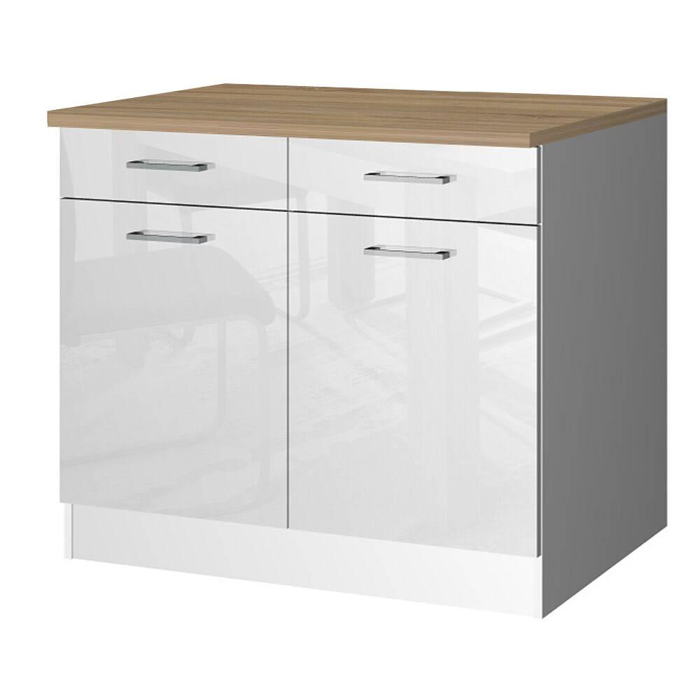Küchen-Unterschrank 100 MARANELLO-03 Weiß Hochglanz Breite 100 cm