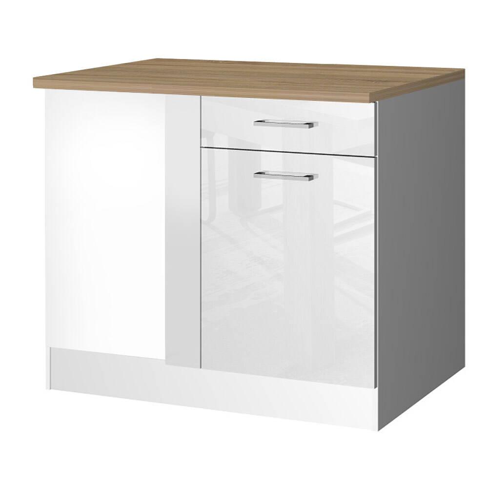 Küchen-Eck-Unterschrank 110 MARANELLO-03 Weiß Hochglanz Breite 110 cm
