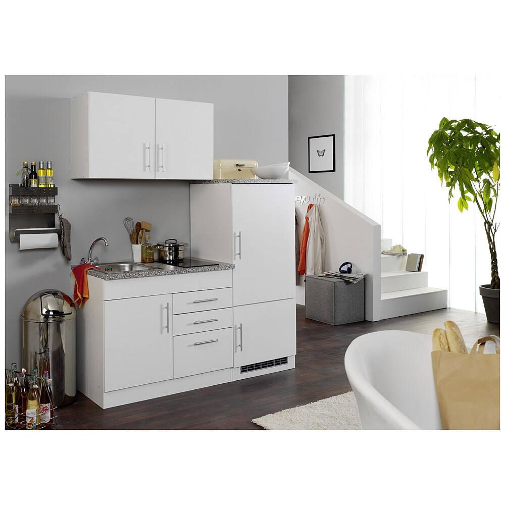 Küche mit Kühlschrank für Singles TERAMO-03 Weiß B x H x T ca. 160 x 200 x 60cm