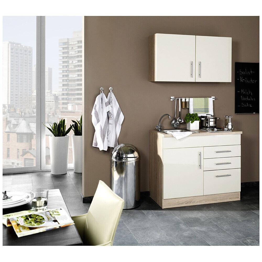 Küche für Singles in Hochglanz Creme TERAMO-03 B x H x T ca. 100 x 200 x 60cm