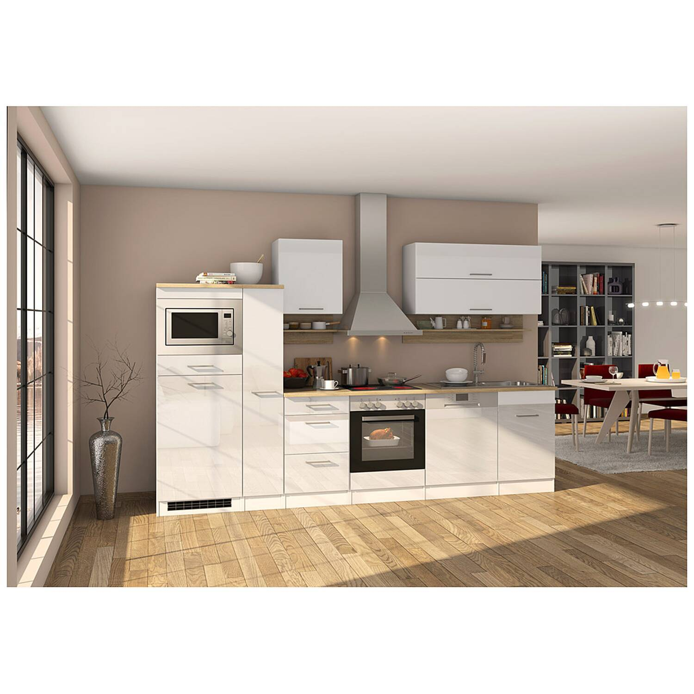 Küche weiß 310 cm MARANELLO-03 inklusive E-Geräte, Weiß Hochglanz B x H x T ca. 310 x 200 x 60cm