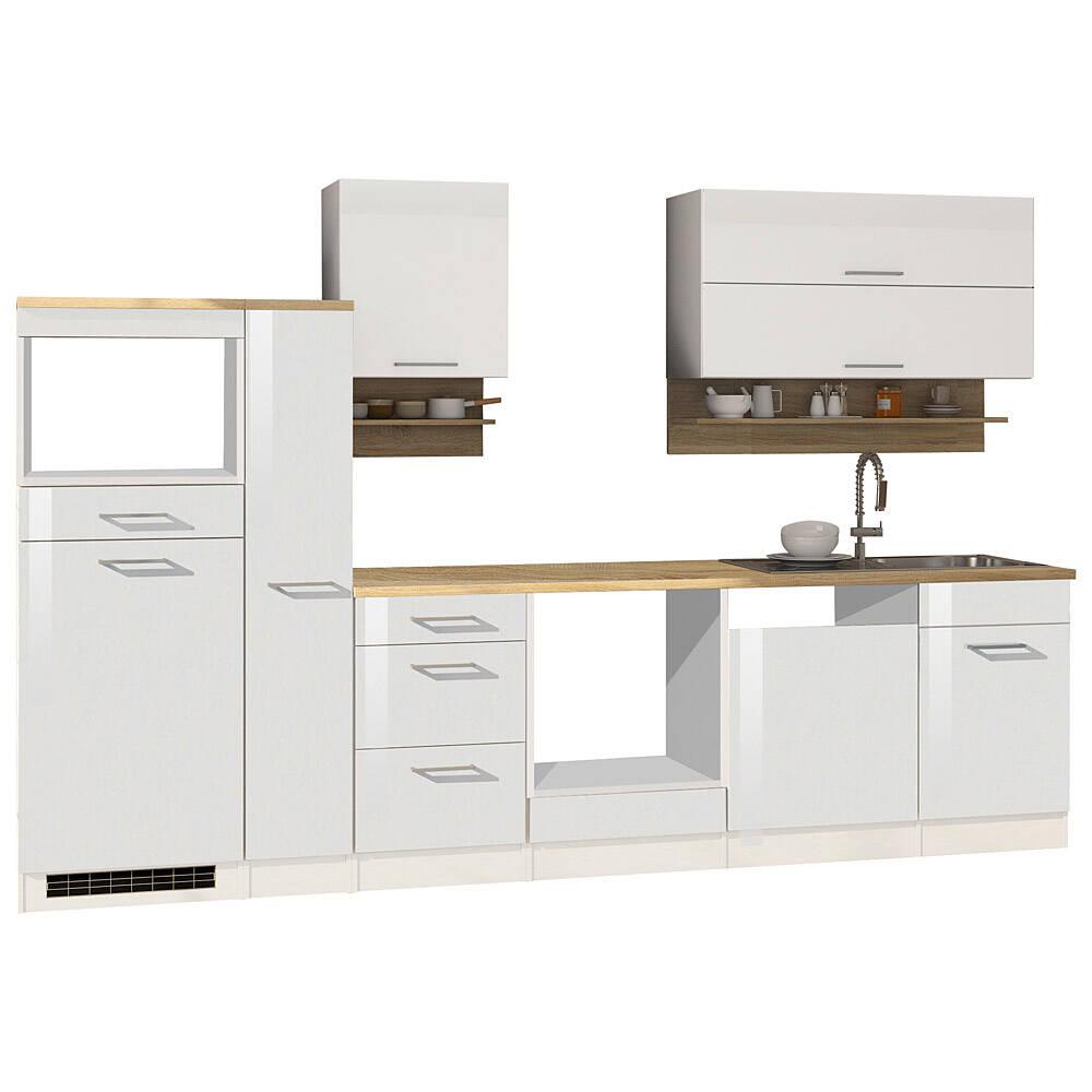 Küche weiß 310 cm MARANELLO-03 Weiß Hochglanz ohne E-Geräte B x H x T ca. 310 x 200 x 60cm