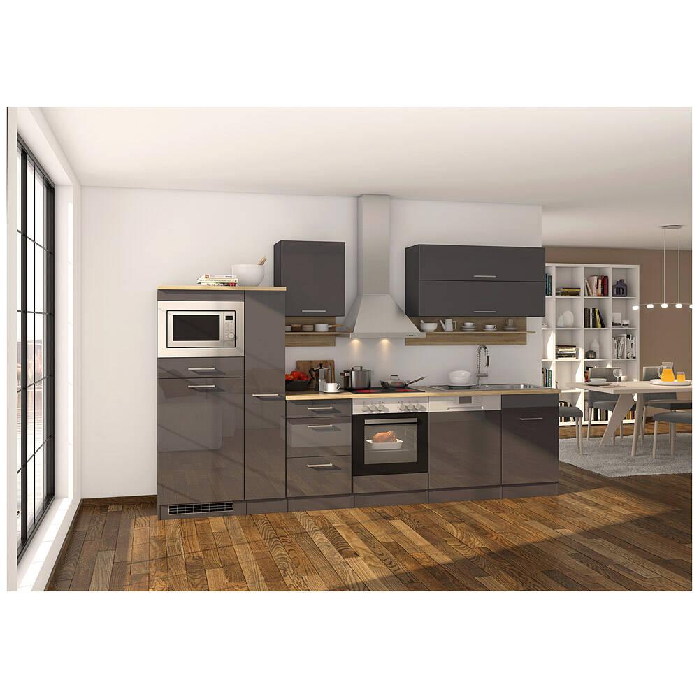 Küche grau 310 cm MARANELLO-03 inklusive E-Geräte, Anthrazit Hochglanz mit E-Geräten B x H x T ca. 310 x 200 x 60cm