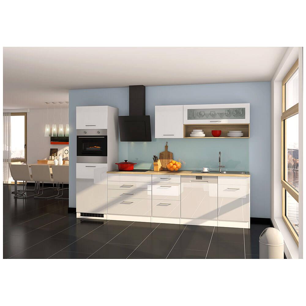Küche mit Geschirrspüler 300 cm weiß MARANELLO-03 inkl. E-Geräte, Weiß Hochglanz, Design-Glashaube mit E-Geräten B x H x T ca. 300 x 200 x 60cm