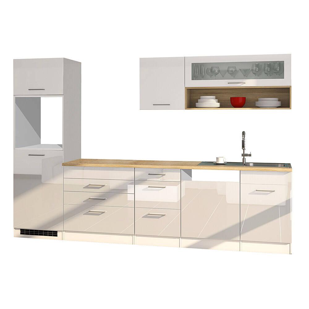 Küche mit Geschirrspüler 300 cm weiß MARANELLO-03 , Weiß Hochglanz, ohne E-Geräte B x H x T ca. 300 x 200 x 60cm