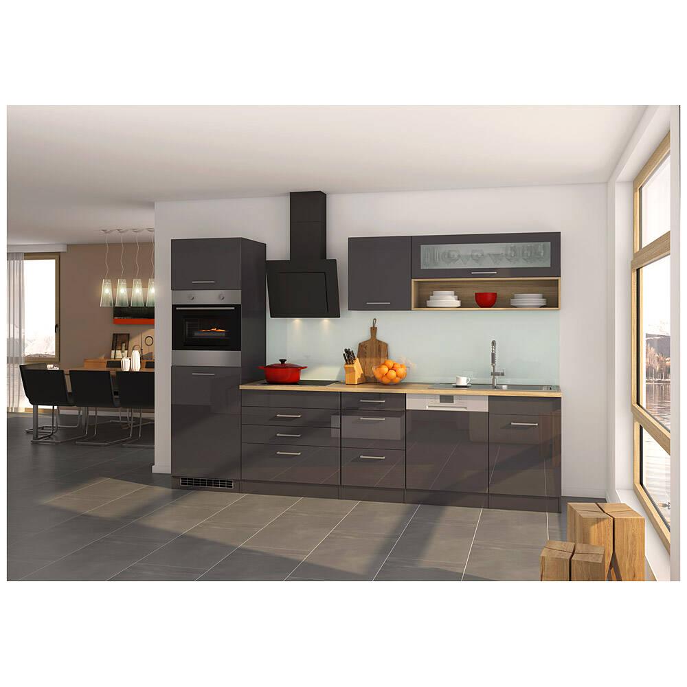 Küche mit Geschirrspüler 300 cm grau MARANELLO-03 inkl. E-Geräte, Anthrazit Hochglanz, Design-Glashaube mit E-Geräten B x H x T ca. 300 x 200 x 60cm