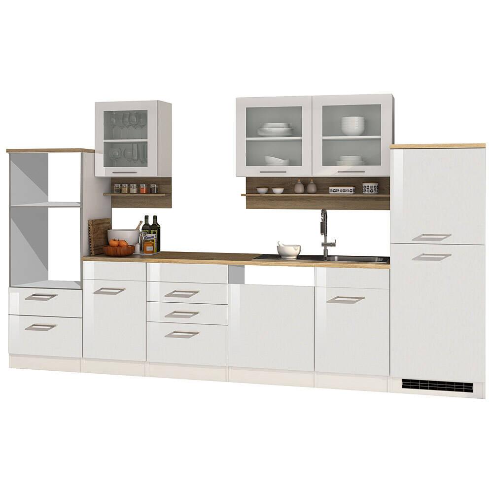 Küche 340 cm weiß MARANELLO-03, Weiß Hochglanz, ohne E-Geräte B x H x T ca. 340 x 200 x 60cm
