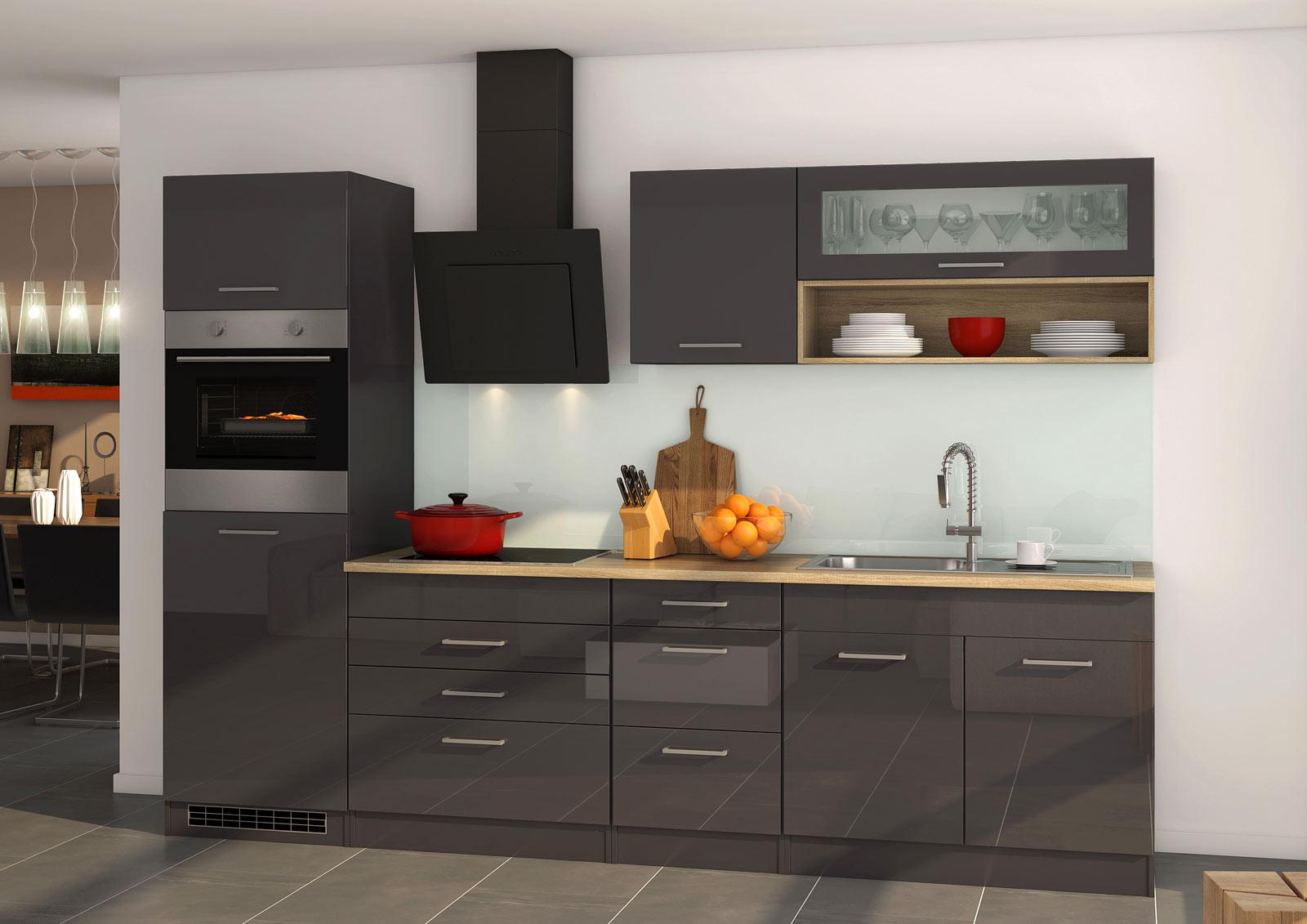 Lifestyle4Living Küchenblock, grau Hochglanz, Stellmaß: ca. 290 cm, mit Elektrogeräten